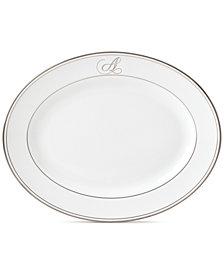 Lenox Federal Platinum Monogram Oval Platter, Script Letters
