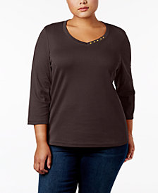 Karen Scott Plus Size Cotton Button-Trim V-Neck Top, Created for Macy's