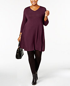 Style & Co Plus Size V-Neck A-Line Swing Dress, Created for Macy's