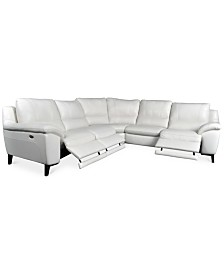 CLOSEOUT! Stefana 5-Pc. Sectional Sofa with 3 Power Recliners, Created for Macy's