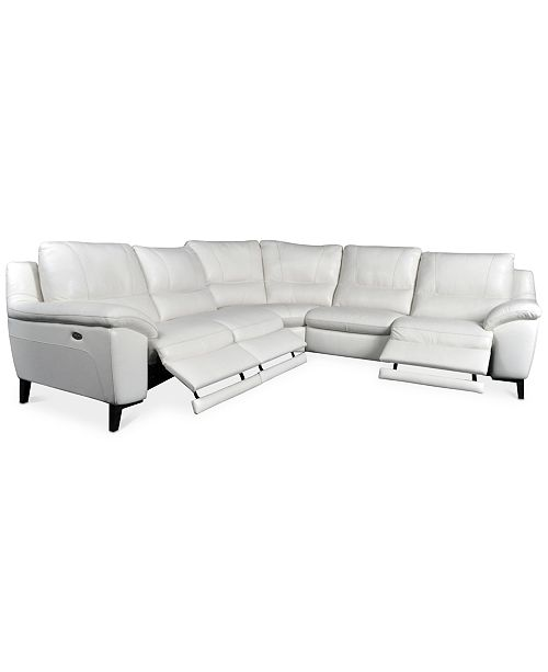 Furniture Stefana 5-Pc. Sectional Sofa with 3 Power Recliners, Created for Macy's