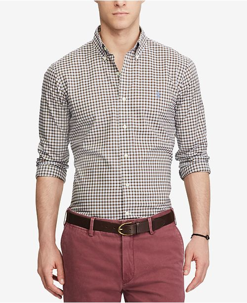 Polo Ralph Lauren Men s Slim-Fit Poplin Shirt - Casual Button-Down ... 1e2bd6ba8cfc