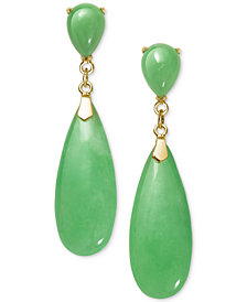 Jadeite Drop Earrings in 10k Gold
