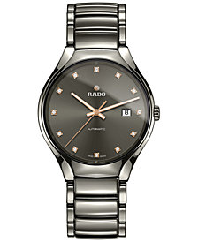 Rado Unisex Swiss Automatic True Diamond (1/8 ct. t.w.) Plasma-Tone Ceramic Bracelet Watch 40mm