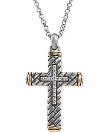 Esquire Men's Jewelry Diamond Two-Tone Cross Pendant Necklace (1/5 ct. t.w.) in Sterling Silver & 14k Gold, Created for Macy's