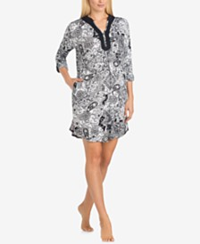 Ellen Tracy Split-Neck Printed Knit Sleepshirt