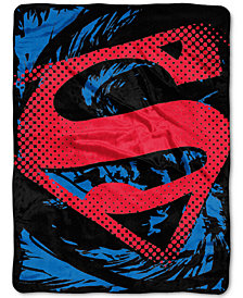 Warner Brothers Superman Super Rip Shield Plush Micro-Raschel Throw