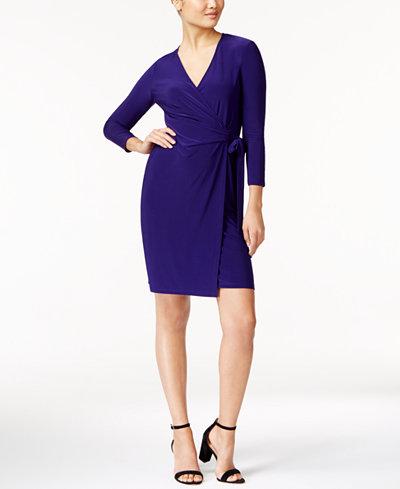 Anne Klein Faux-Wrap Dress - Dresses - Women - Macy's