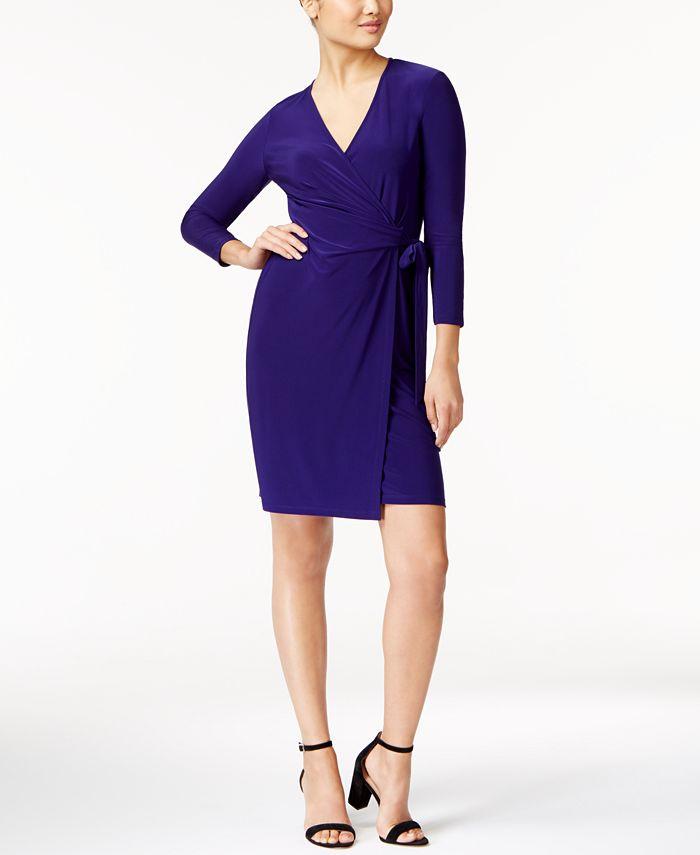 Anne Klein - Three-Quarter-Sleeve Faux-Wrap Dress