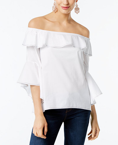 INC International Concepts Cotton Off-The-Shoulder Top, Created for Macy's