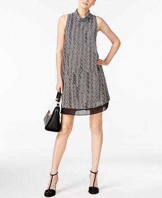 Alfani Petite Printed Mock-Neck Dress, Created for Macy's