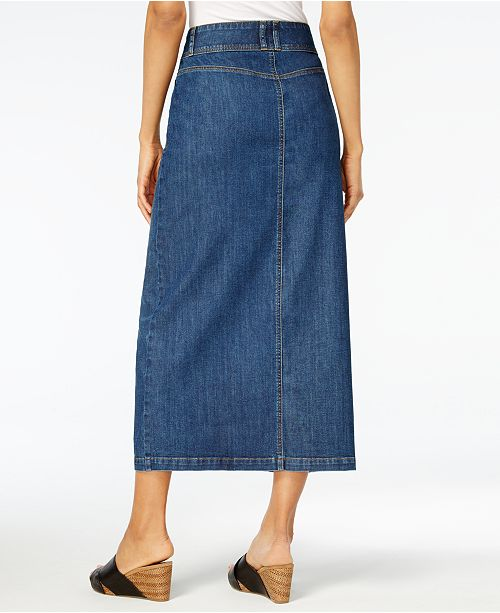 c54a03a8fa072 Style   Co Button-Front Midi Denim Skirt