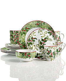 222 Fifth Christmas Foliage 12-Pc Dinnerware Set, Created for Macy's