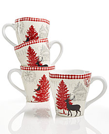 222 Fifth Northwood Cottage 4-Pc. Mug Set