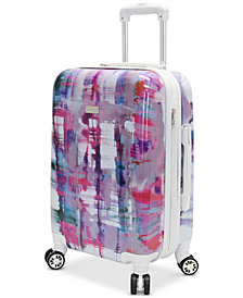 "CLOSEOUT! Steve Madden Plaid 20"" Expandable Hardside Carry-On Spinner Suitcase"