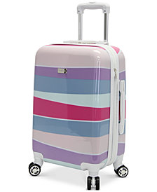 "CLOSEOUT! Steve Madden Stripes 20"" Expandable Hardside Carry-On Spinner Suitcase"