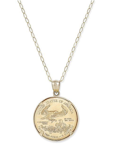 Macys genuine eagle coin pendant necklace in 22k and 14k gold main image mozeypictures Choice Image