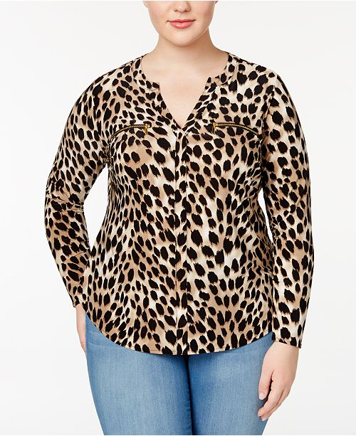 Size Concepts Created Plus C Blouse N Cheetah INC International Macy's for Print I Animal 5gxFvwYw