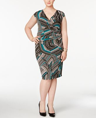 Kasper Plus Size Zigzag Swirls Wrap Dress Dresses Women Macys