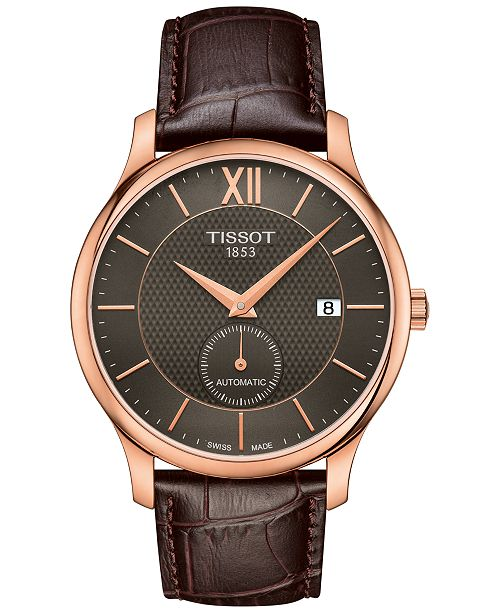 6d8031995c4 ... Tissot Men s Swiss Automatic Tradition Brown Leather Strap Watch ...
