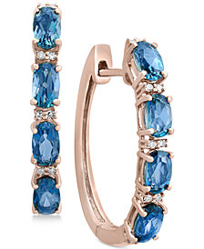 EFFY® London Blue Topaz (2-1/2 ct. t.w.) & Diamond Accent Hoop Earrings in 14k Rose Gold