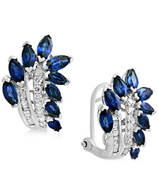 Royalé Blue by EFFY® Sapphire (3-1/10 ct. t.w.) & Diamond (1/4 ct. t.w.) Drop Earrings in 14k White Gold