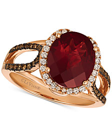 Le Vian® Chocolatier Blue Topaz (4 ct. t.w.) & Diamond (3/8 ct. t.w.) Ring in 14k Rose Gold, (also in Rhodolite Garnet), Created for Macy's
