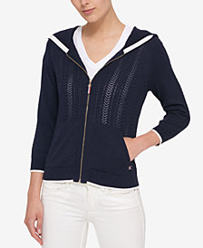 Tommy Hilfiger Zip Hooded Cardigan, Created for Macy's