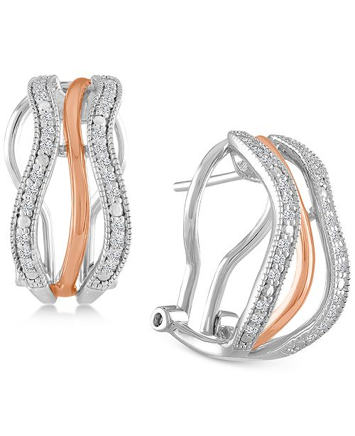 Macy's Diamond Two-Tone Hoop Earrings (1/4 ct. t.w.) in Sterling Silver and 18k Rose Gold-Plate