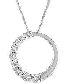 Diamond Accent Circle Pendant Necklace in 10k White Gold
