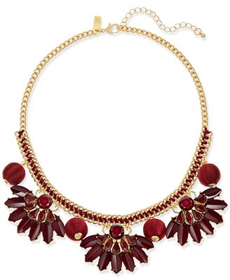 I.N.C. Gold-Tone Stone & Thread Statement Necklace, Created for Macy's