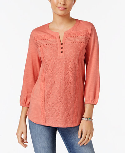 Style & Co Petite Lace-Front Henley Top, Created for Macy's