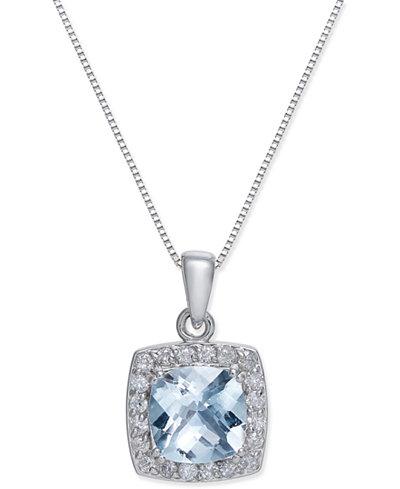 Aquamarine (2 ct. t.w.) & Diamond (1/3 ct. t.w.) Pendant Necklace in 14k White Gold