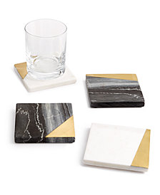 CLOSEOUT! Hotel Collection 4-Pc. Marble Coaster Set, Created for Macy's