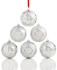 Holiday Lane Set Of 6 Shatterproof Silver-Tone Snowflake Ball Ornaments, Created for Macy's