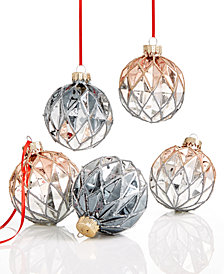 Holiday Lane Set of 5 Glass Ball Ornaments, Created for Macy's