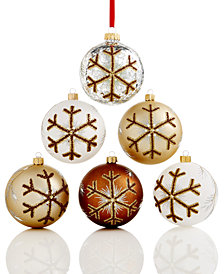 Holiday Lane Set Of 6 Shatterproof Snowflake Ball Ornaments, Created for Macy's
