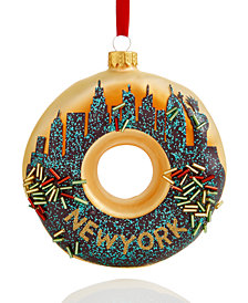 Holiday Lane Glass New York City Donut Ornament, Created for Macy's