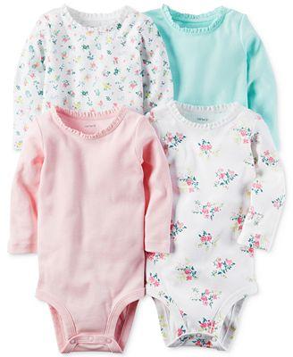 Carter's 4-Pk. Ruffled-Neck Cotton Bodysuits, Baby Girls