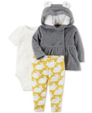 Carters 3Pc Peplum Fleece Hoodie Bodysuit  Leggings Set Baby Girls (024 months)