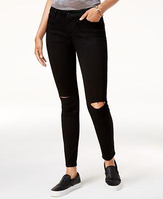 Black Daisy Juniors' Billie Ripped Skinny Jeans - Juniors - Macy's