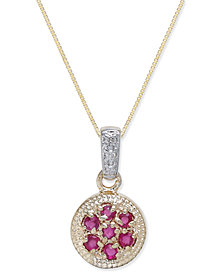 Ruby (3/8 ct. t.w.) & Diamond Accent Pendant Necklace in 14k Gold