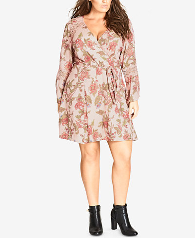 City Chic Trendy Plus Size Floral-Print Lace-Inset Wrap Dress
