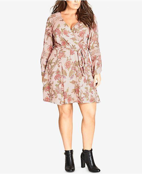 City Chic Trendy Plus Size Floral-Print Lace-Inset Wrap Dress