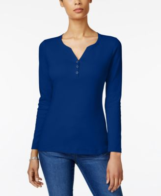 Image of Karen Scott Cotton Long-Sleeve Henley, Created for Macy's