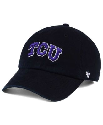 TCU HORNED FROGS ADJUSTABLE WHITE STRAPBACK DAD CAP HAT CLEAN UP NEW /'47 BRAND