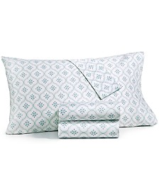 CLOSEOUT! Martha Stewart Collection 4-Pc. Printed Queen Sheet Set, 400 Thread Count Cotton Percale, Created for Macy's