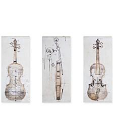 Madison Park Violin Study 3-Pc. Hand-Embellished Canvas Print Set