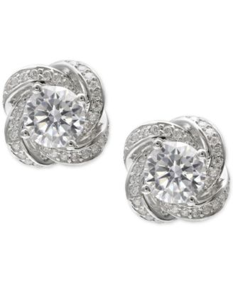 Image of Giani Bernini Cubic Zirconia Love Knot Stud Earrings in Sterling Silver, Created for Macy's