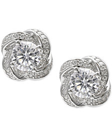 Giani Bernini Cubic Zirconia Love Knot Stud Earrings in Sterling Silver, Created for Macy's